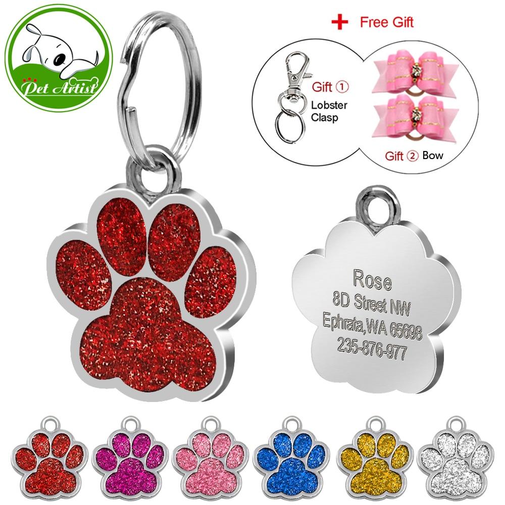 Etiquetas de identificación de mascotas de la pata de purpurina de acero inoxidable Etiqueta personalizada personalizada para perros pequeños y gatos Grabados y arcos de pelo gratis