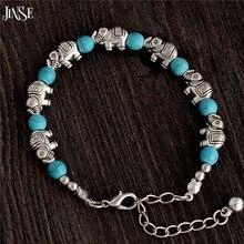WSB013 Hot Sale Retro Antique Silver Elephant Adjustable Chain Bead For Ladies Turquoise Bracelet