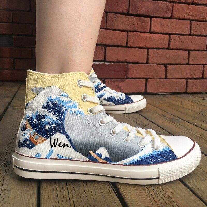 88451bf8b Вэнь ручной росписью обувь Дизайн Пользовательские Японской живописи укие e  высокие Для мужчин Для женщин Холст кроссовки рождественские подарки купить  на ...