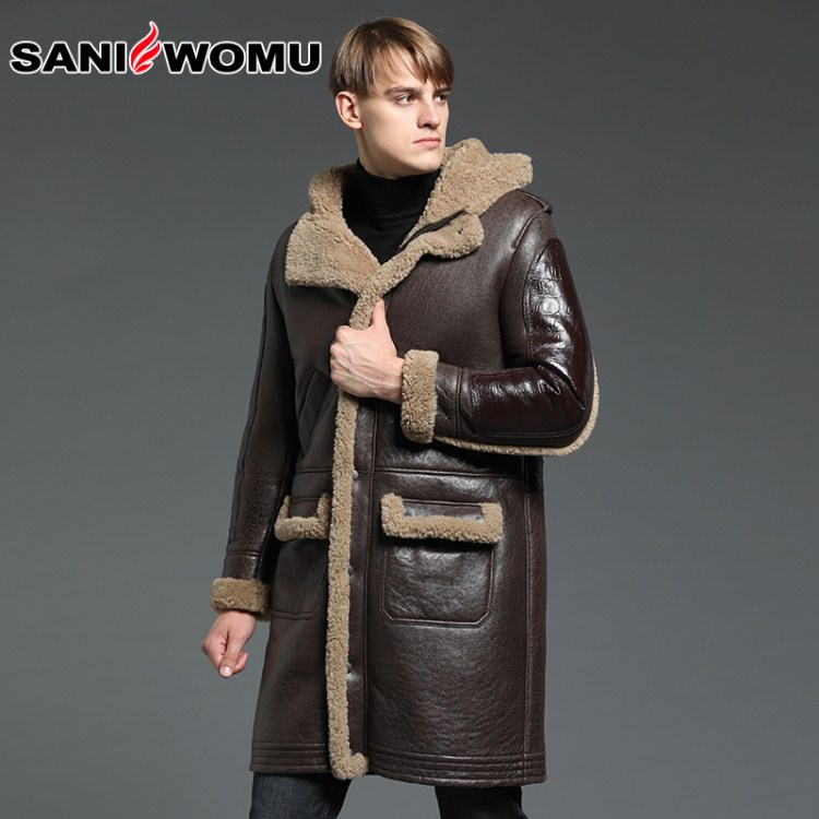 Hooded Genuine Leather Sheepskin Fur Coat Male Formal Shearling Clothing Winter Sheepskin Jacket Men Fur Overcoat(China)
