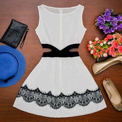 חדש סקסי נשים בגדי מסיבת שרוולים O-צוואר שמלת תחרה חלול החוצה אופנה מיני שמלות שחור לבן Vestido