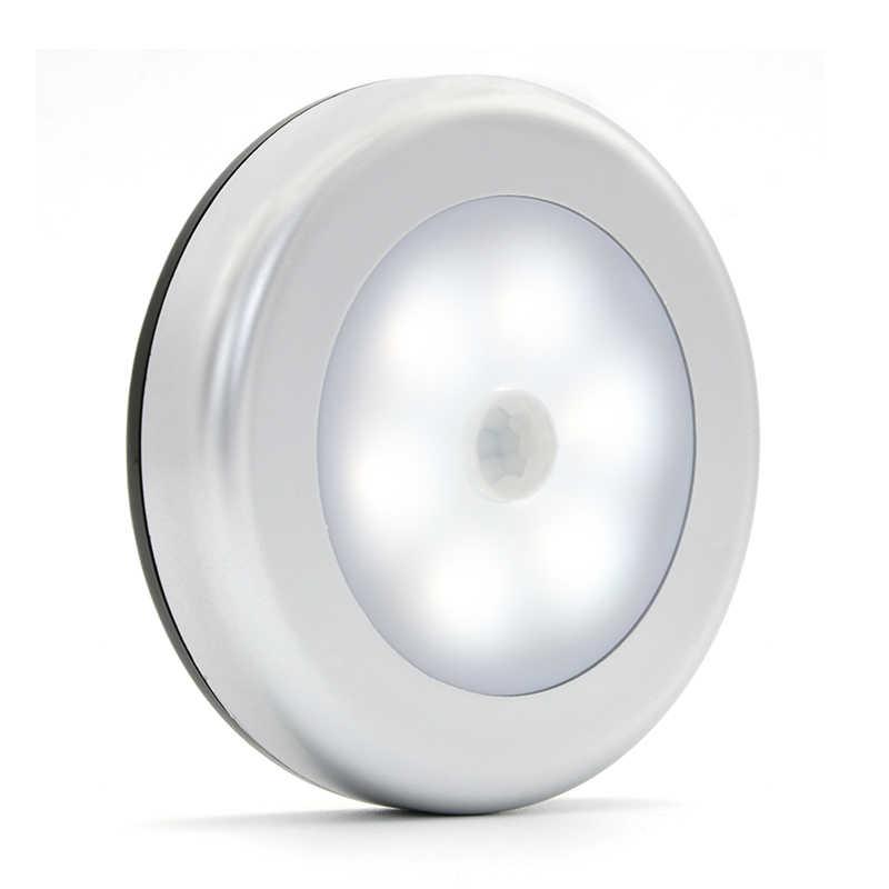 Холодный белый 6led светодиодная подсветка под шкаф PIR ночник с датчиком движения батарея магнитная лампа для спальни шкаф лестницы настенный светильник