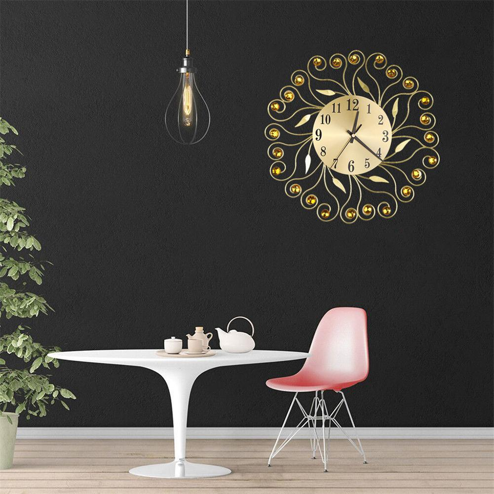 Retro Rhinestone Round Flower Silent Living Room Quartz Wall Clock Hanging Decor hot sale