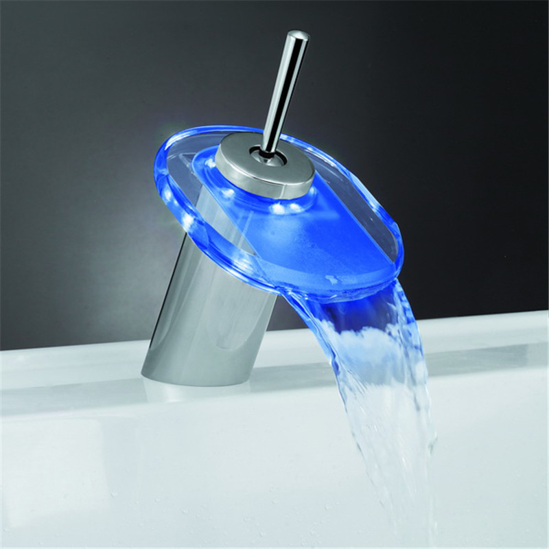 new arrival Led faucet glass waterfall with light basin hot and cold faucet battery