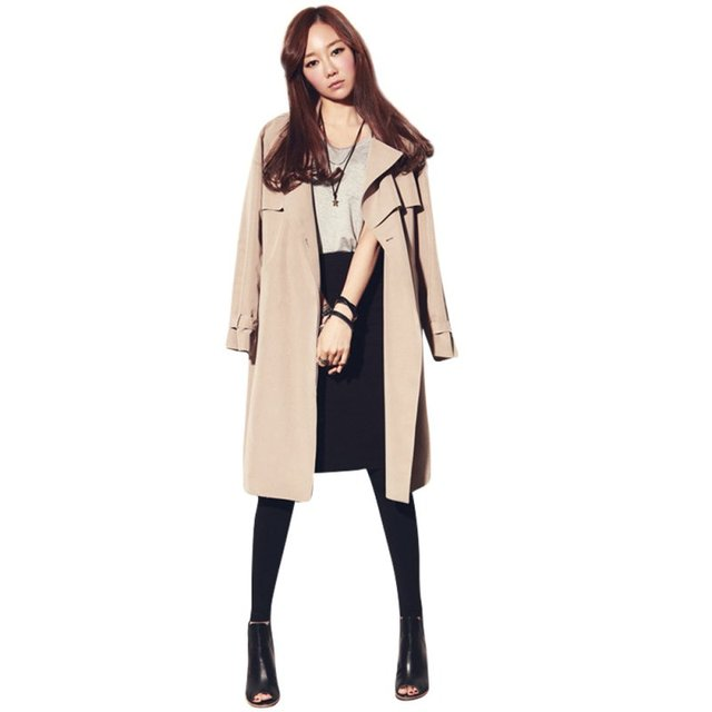 Fashion Long Trench Coat For Women Autumn Spring Trench Coats Outerwear Loose Coat Gabardina Mujer Trench