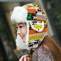 Ola coreana de punto Sombrero Del invierno de las señoras de la cachemira de lana gruesa bomber sombreros de la Navidad para los regalos Para Mujer caliente headwear envío libre