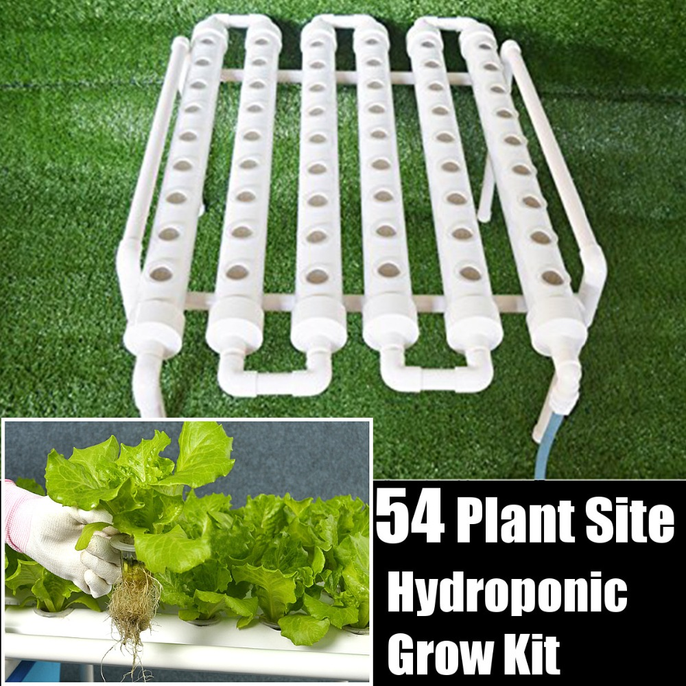54 Holes Hydroponic Piping Site Grow Kit Deep Water Culture Planting Box Gardening System Nursery Pot