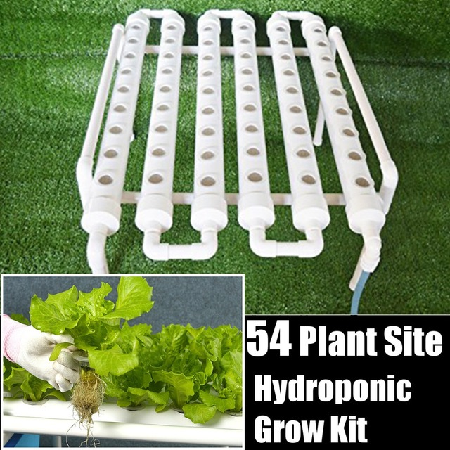 54 Holes Hydroponic Piping Site Grow Kit Deep Water Culture Planting Box Gardening System Nursery Pot Hydroponic Rack 220V