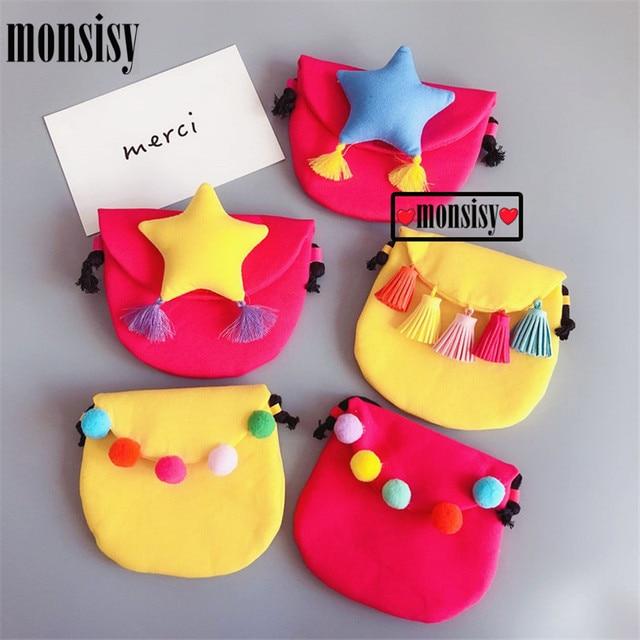 Monsisy Baby Coin Purse Money Bag Children Wallet Girl Small Change Purse Kid Cotton Bag Tassle/Ball/Star Baby Money Handbag