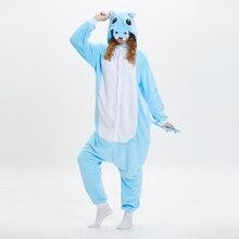 2019 winter flannel animal pajamas cute hippo adult onesie sleepwear cartoon funny pijama stitch male / female pyjama new rnio