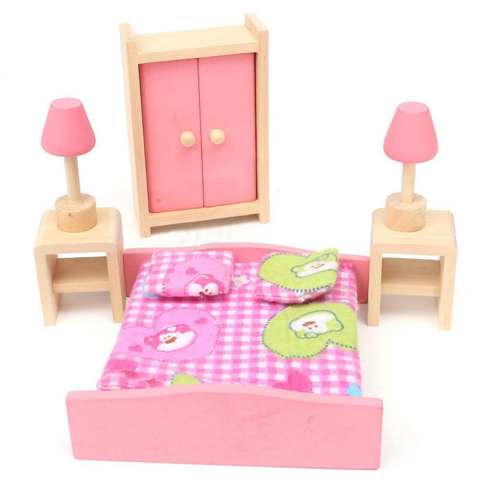 1 X Bedroom Set Mini Wooden Bedroom Dolls House Miniature Furniture For  Kids Children Toy Chiristmas