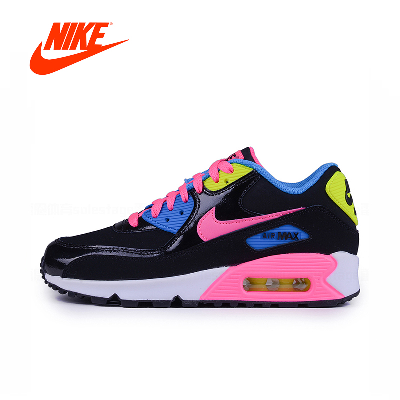 Original New Arrival Authentic Nike Air Max 90 GS Black Rainbow Women's Retro Cushioning Sneakers Comfortable Running Shoes