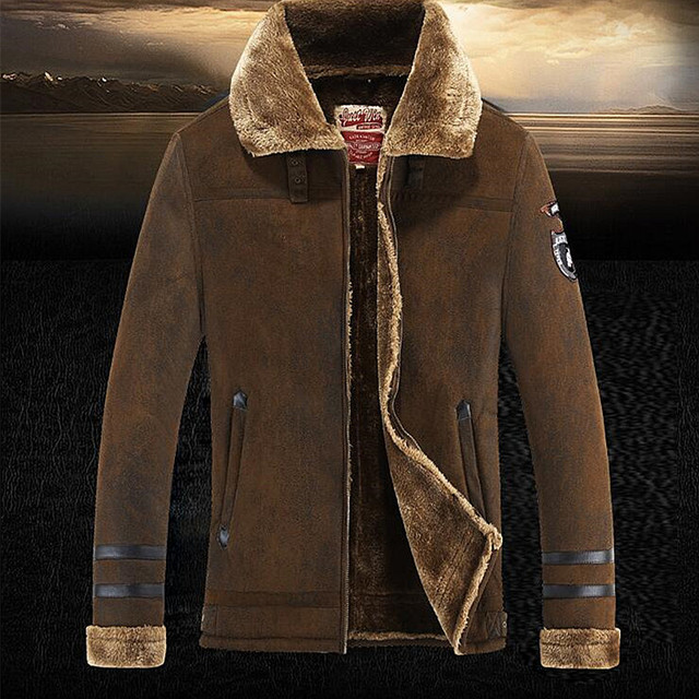 suede Jacket Men Winter Jackets and Coats Thickening Wool Windbreak Waterproof Warm Skin Lamb Fur Trench Coat Plus Size 3XL