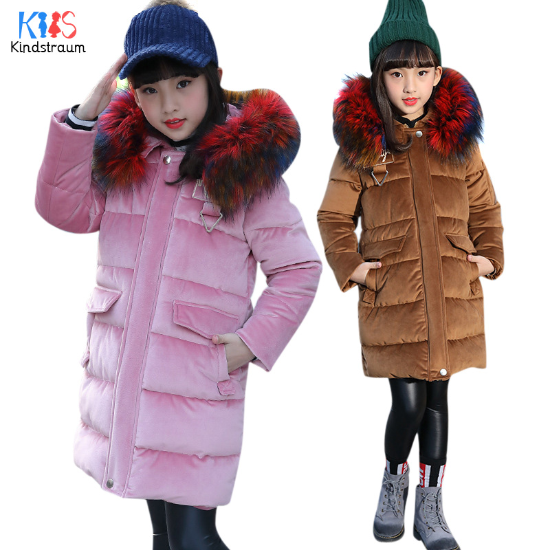 Kindstraum 2018 New Girls Thick Cotton Coats Children Brand Velvet Winter Wear Fashion Fur Hooded CLothes for Kids,RC1705 snow wear 2017 high quality winter women jacket cotton coats fur collar hooded parkas fashion long thick femme outwear cm1346