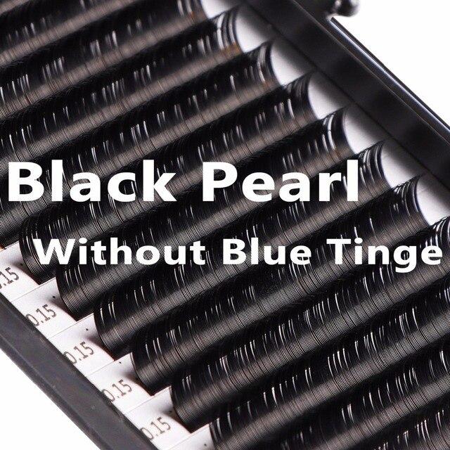 Wholesale Black Pearl Individual Eyelash Extensions (No Blue Tinge) C D Curly Handmade Wholesale Premium Black False Eyelashes
