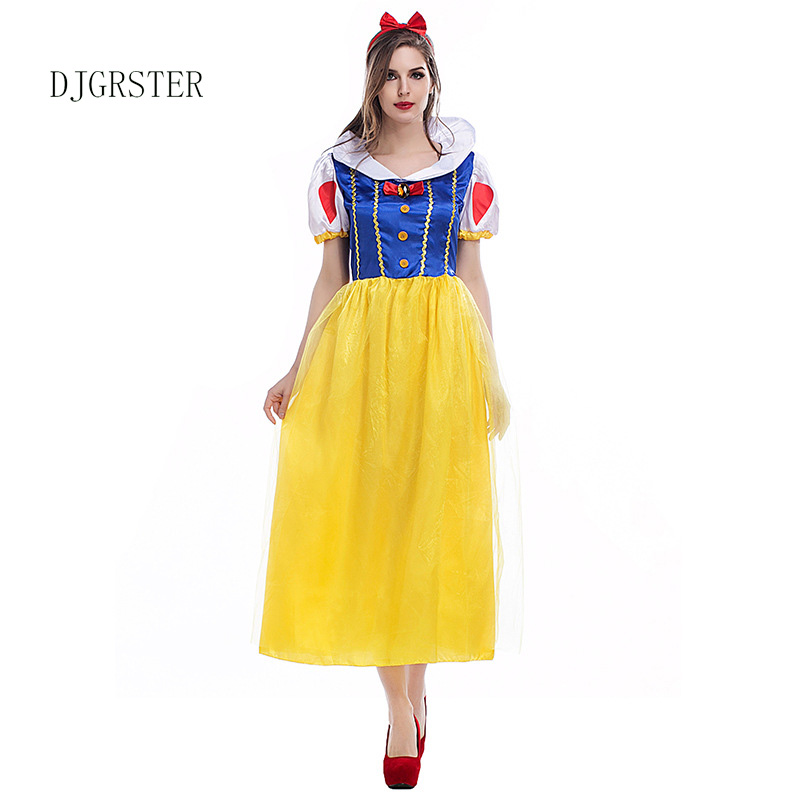 2019 Adult Snow White Costume Women Cosplay Carnival Halloween Dress Girls Fairy Tale Plus Size Party Outfit Female Fancy Dress
