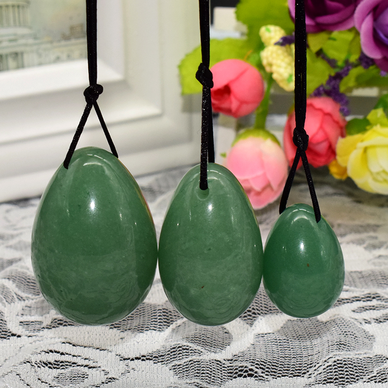 Natural Green Aventurine Jade Egg Egg Drilled Yoni Ben Wa Ball for Women Pelvic Floor Muscle Vaginal Tighten Kegel Exerciser m