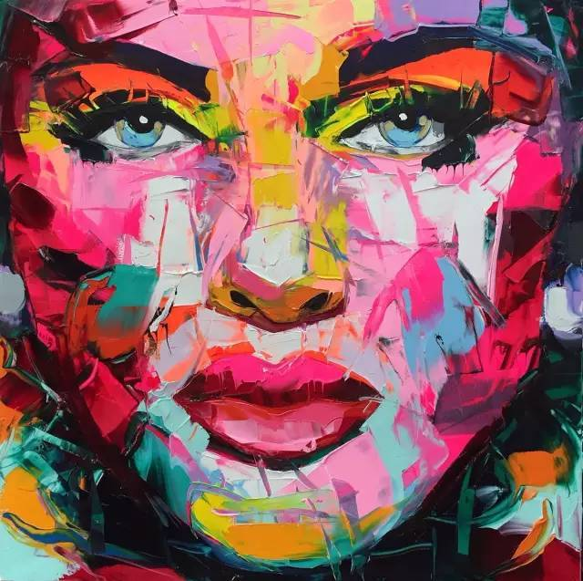 Palette knife painting portrait Face oil painting Impasto woman face on canvas Hand painted Francoise Nielly wall art pictures in Painting Calligraphy from Home Garden