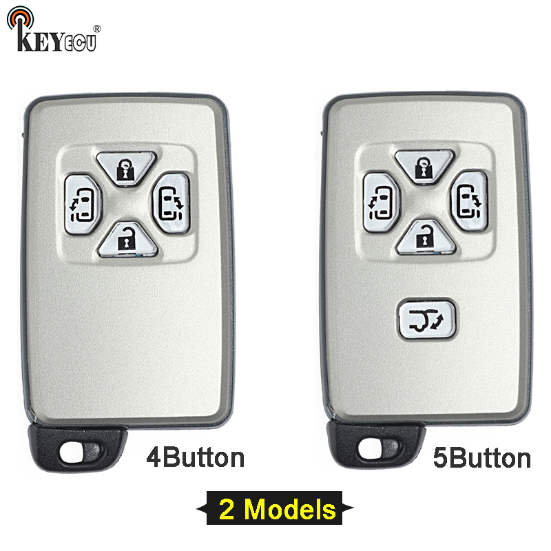 KEYECU for Toyota Alphard Estima Vellfire Smart Card Remote Car Key Shell Case Fob 4/5 title=
