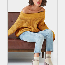 2019 autumn and winter chic style solid cute sweater computer knitted slash neck sexy  three quarter pullovers woman sweaters