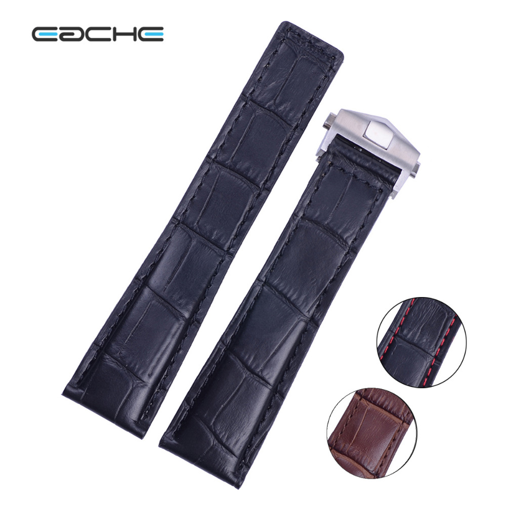 EACHE Top Grade Alligator Watch Band Crocodile Grain Pattern Genuine Leather Watch Strap 20mm 22mm Bracelets Black Brown