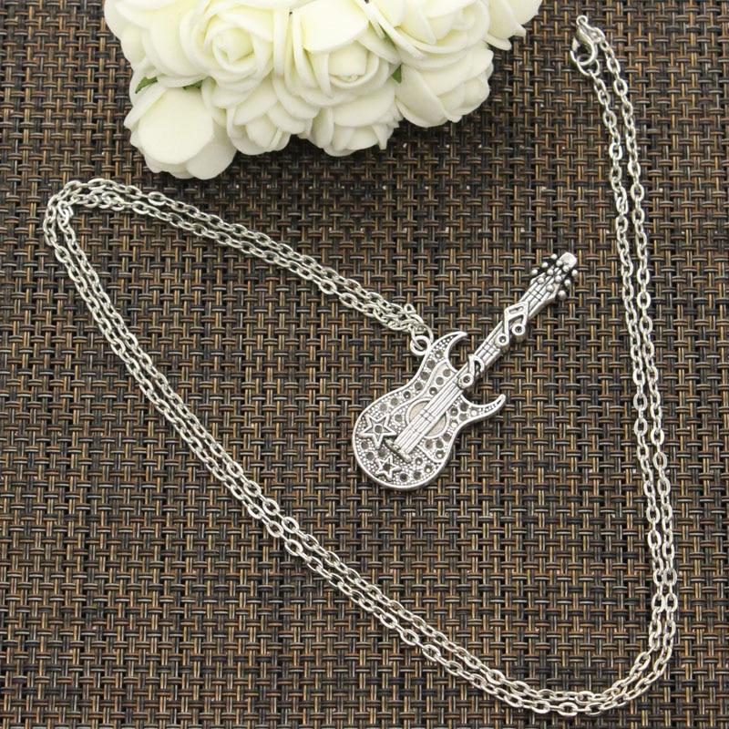 New Fashion Necklace musical guitar 55*22mm Silver Pendants Short Long Women Men Colar Gift Jewelry Choker