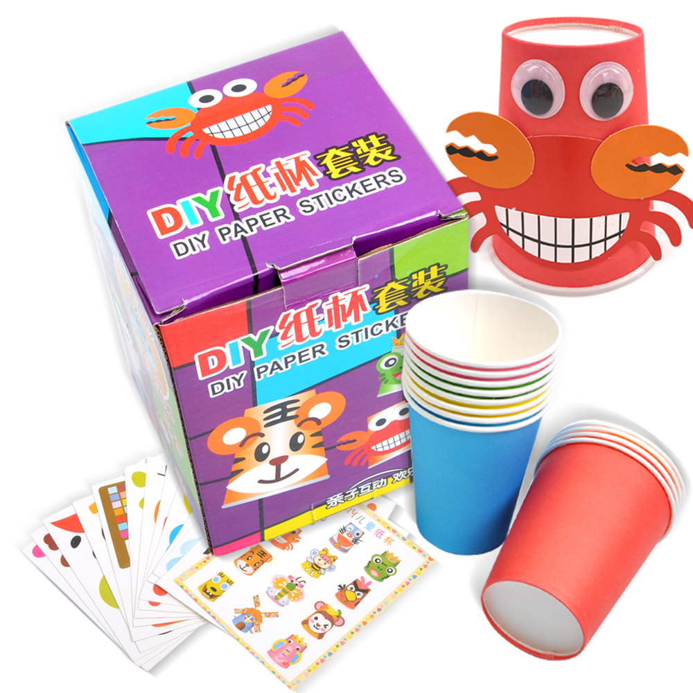 12pcs/box Children DIY Handmade Cartoon Animal Paper Stickers/ Kids Baby Paper Cup Stickers For Classic Toys, Free Shipping