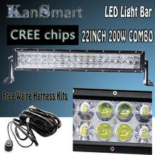 """Universal Cree Chips Lente 4D 200 W 22 """"LED Barra Ligera del Trabajo Off-road Driving Lamps Kits de Faros de niebla Luz Del Coche Externa + Cable Del Mazo"""