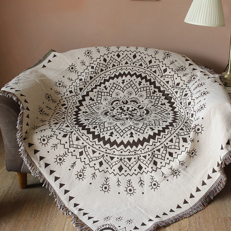 Double sides multi-fuction mandala cotton blanket,120*170cm durable wearable comforter, sofa cover, pet blankets ,table cloth