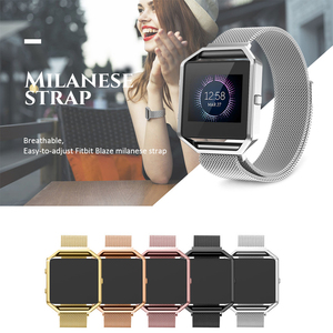 23mm width Stainless Steel Strap for Fitbit Blaze Band Magnetic Closure Milanese Strap with Metal Frame Shell for Fitbit Blaze