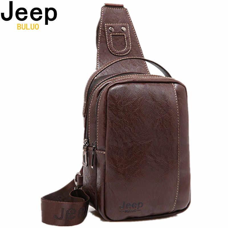 6eb7f148d5ec Jeep buluo бренд дорожные нагрудные сумки модные Для мужчин Курьерские сумки  мягкая кожаная сумка подплечики слинг