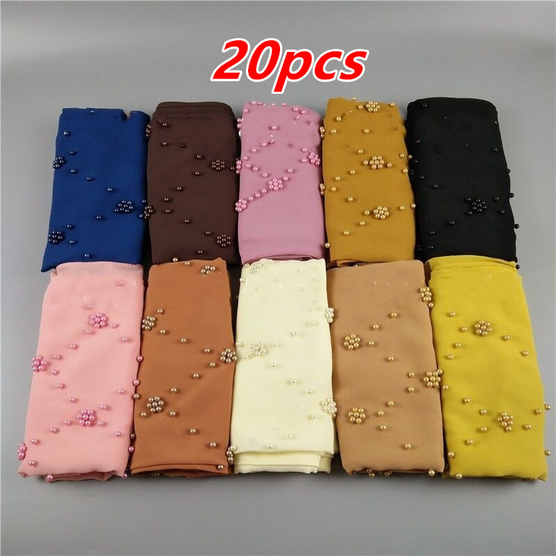 K27 20pcs     High Quality   Pearl Bead Bubble  Chiffon  Wrap Hijab Shawl Scarf 180*75cm Can Choose Colors