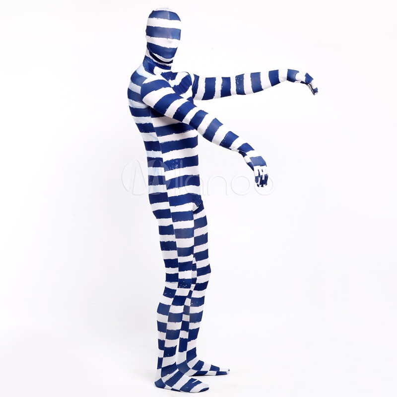 High Quality AdultChildren Mens Halloween mummy Spandex BlueWhite Stripe Cosplay Costumes Lycra Zentai Costume Full Body Suit