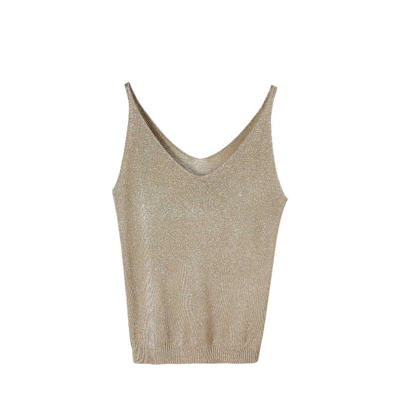 26bc676ec29ca New Knitted Top Women Summer Gold Thread V Neck Sleeveless Sexy Vest Silver  Camis Casual Slim