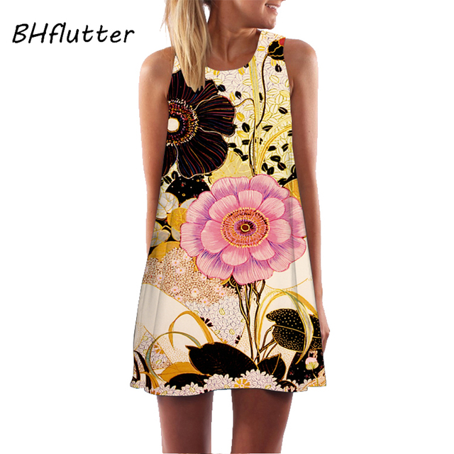 BHflutter Women Dress 2018 New Arrival Rose Print Sleeveless Summer Dress O neck Casual Loose Mini Chiffon Dresses Vestidos 3