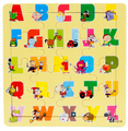 Children educational toys wooden puzzle toys brain 16 piece jigsaw puzzles for kids alphanumeric early learning cartoon toy 2016
