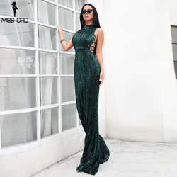 Missord 2020 Sexy O neck Elegant Sequin Women Dresses Lace Up Bodycon Maxi Party Reflective Dress FT18482