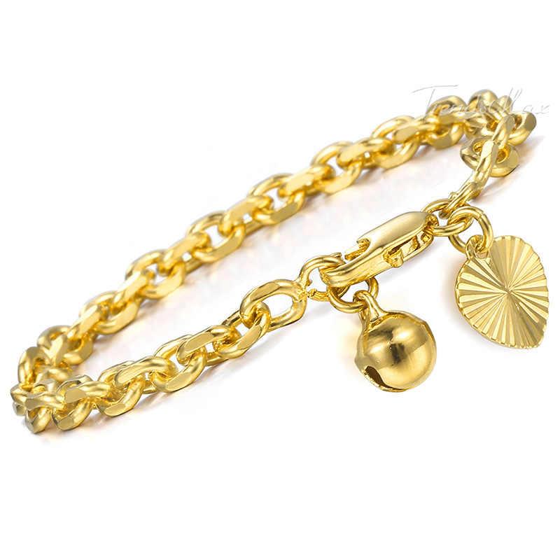 Pulsera para niños, pulsera de oro amarillo, pulsera de cadena con Eslabones en forma de corazón, pulseras para bebés y niños, joyería, regalos, 3mm, HGB449