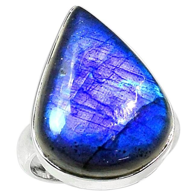 Lovegem Genuine Blue Fire Labradorite Ring 925 Sterling Silver,Size:7.9 AR1521