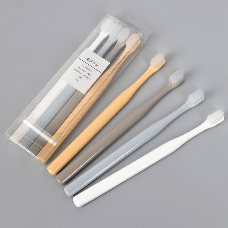 4Pcs/Set Portable Japanese Family Small Head Toothbrush Soft Nylon Bristles Plain Solid Color Handle Oral Care Clean Tool Random image
