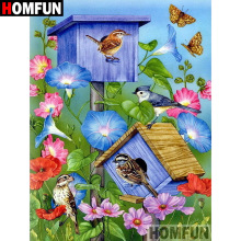 HOMFUN 5D Diamond Pattern Rhinestone Needlework Diy Painting Cross Stitch Bird flower Embroidery A08153