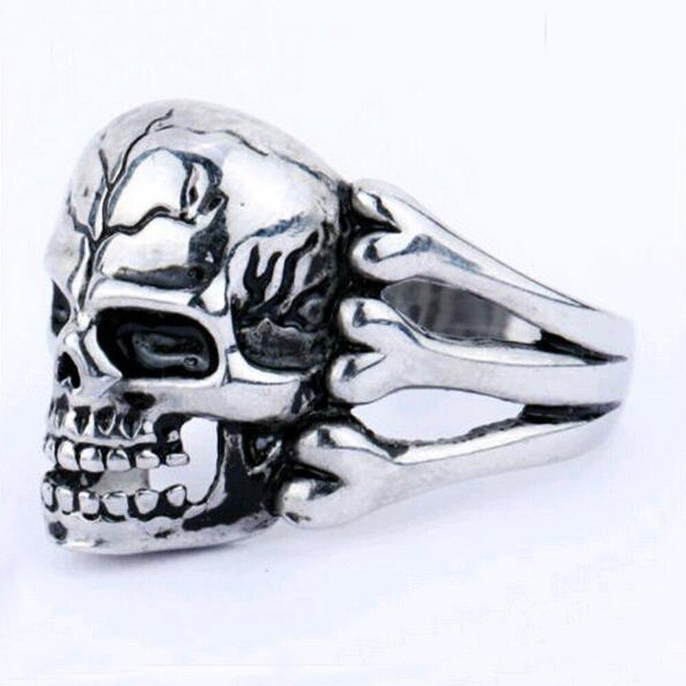tomtosh 2016 mans ring gothic mens skull flower biker zinc alloy ring man fashion rings free - Biker Wedding Rings