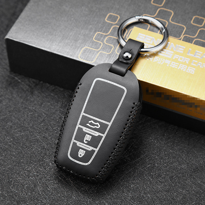 Leather key cover for toyota prado 3 button 3 5L car key case holder new hot sale key2y Free shipping in Key Case for Car from Automobiles Motorcycles
