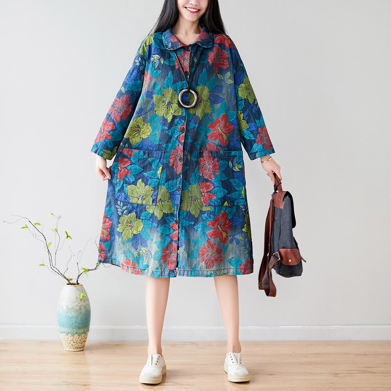 Johnature Casual Vintage Button Turn-down Collar Coat Women 2019 New Autumn Korean Floral Print Fashion Medium Long Women Coat