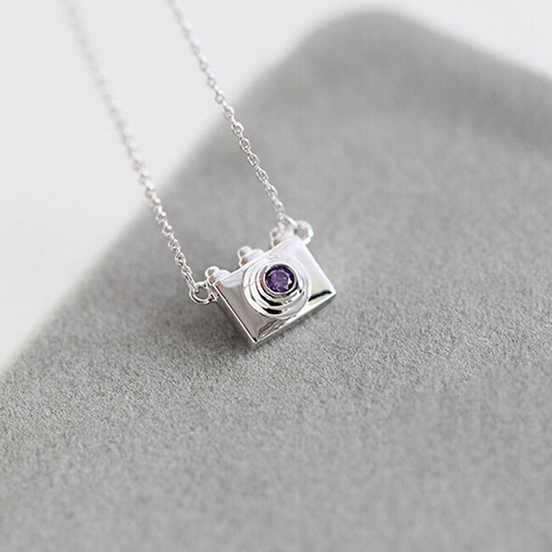 925 Sterling Silver Necklaces Women Fashion Purple Crystal Camera Shaped Pendant Choker Chain Necklace image