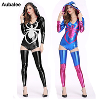 Sexy Women Spider girl Cosplay Costume New Ladies Spiderman Halloween Party Fancy Dress Spider Leather Hooded Bodycon Bodysuit