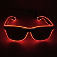 Дешевые оптовые 100 шт. EL Провода светящиеся Солнцезащитные очки для женщин с темно объектив dc 3v устойчивый на драйвер EL Провода трос кабель д
