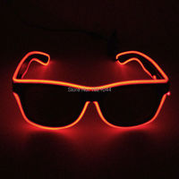 Cheap Wholesale 100pcs EL Wire Glowing Sunglasses with Dark lens DC 3V Steady on Driver EL wire rope cable for Party Supplies
