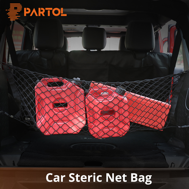 Partol Universal S/M/L 3 Sizes Car Trunk Storage Net Bag Auto Black Color Nylon Rear Luggage/Cargo Organizer Nylon Elastic Mesh цена 2017