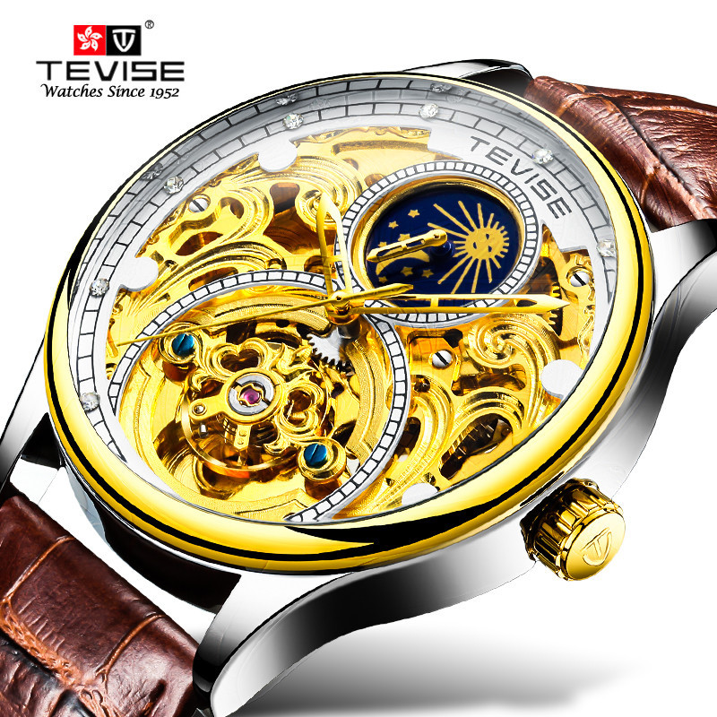 TEVISE T820A Clock Men Tourbillon Automatic Mechanical Watches Mens Moon Phase Leather Waterproof Wristwatches reloj hombre цена и фото